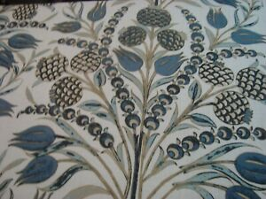 Near-2-yds-THIBAUT-Fabric-Corneila-F972602-Blue-100-LINEN-Drapery-54-034-x-70-034-BTP