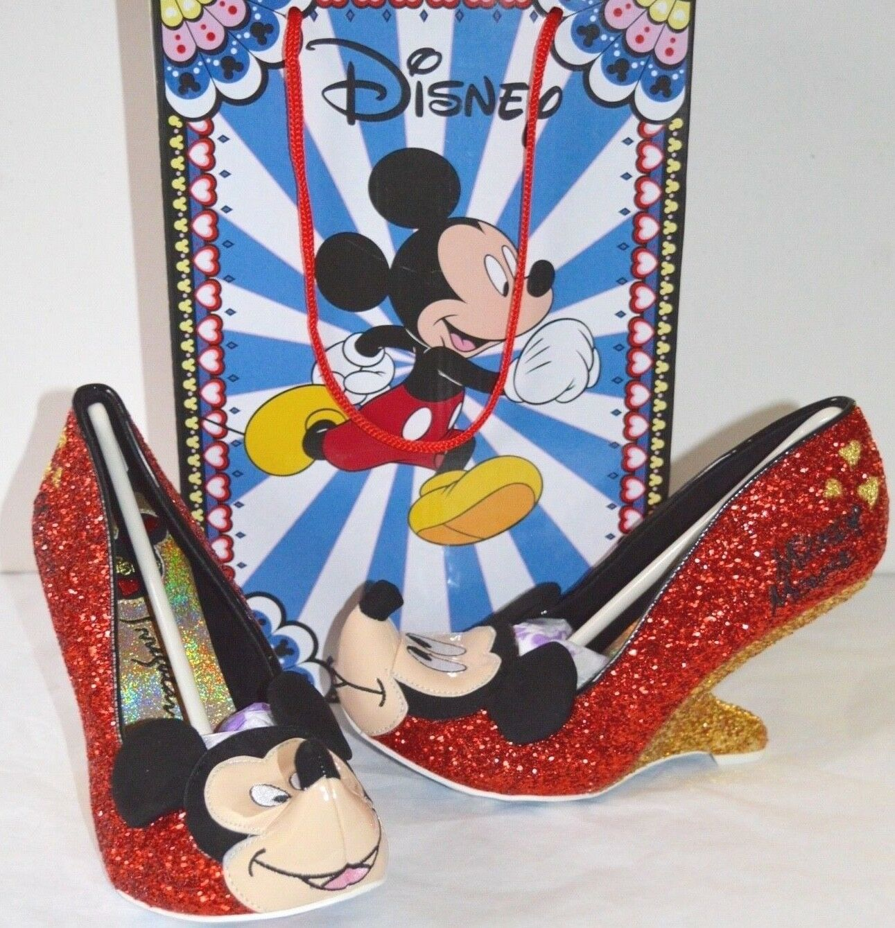New Irregular Choice Disney  Oh Boy   Mickey Mouse Red gold Glitter 38 7 RARE