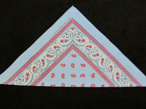 New Paisley Bandana Double Sided Baby Blue Red 100/% Cotton Size 22 X 22