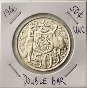1966-Australian-Round-Fifty-50-Cent-Double-Bar-80-Silver-SCARCE-UNC-FREE