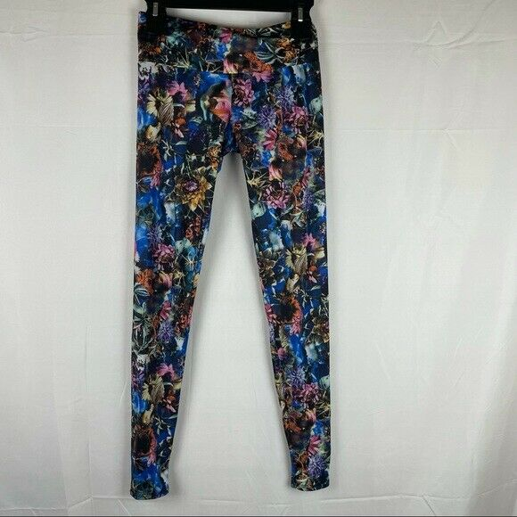 Onzie high rise full length floral colorful hot yoga legging size XS