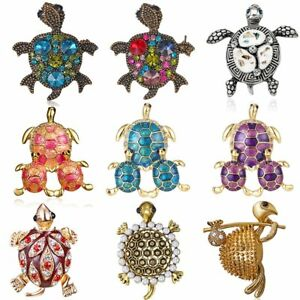 Charm-Tortoise-Animals-Crystal-Rhinestone-Pearl-Enamel-Brooch-Pin-Women-Jewelry