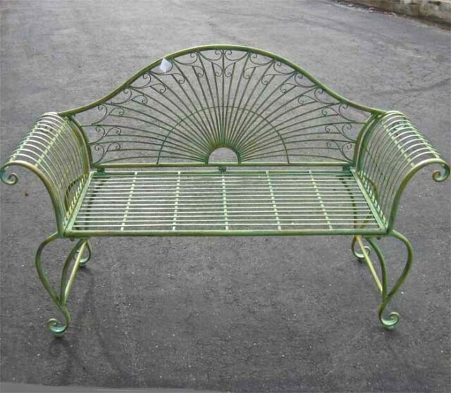 Admirable Garden Bench 37 High Wrought Iron Antique Green Finish C Caraccident5 Cool Chair Designs And Ideas Caraccident5Info