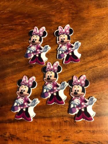 2 x 30mm MINNIE MOUSE LASER CUT FLAT BACK RESIN HEADBAND BOW CARD MAKING PLAQUES