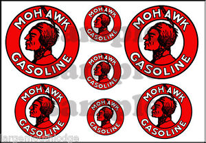 1 INCH 3/4 INCH 1/2 INCH MOHAWK GASOLINE WATERSLIDE DECAL SET DECALS
