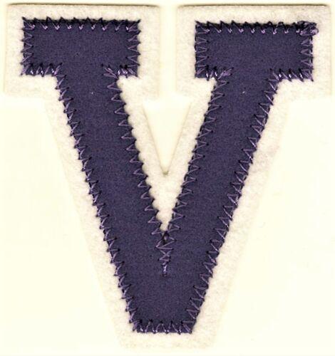 """2 3//8/"""" x 2 1//2/"""" Lavender White Block Letterman/'s Letter V Felt Patch"""