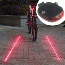 5 LED 2 Laser Beam Mountain Bicycle Bike Cycle MTB Rear Tail Warning Lamp Light