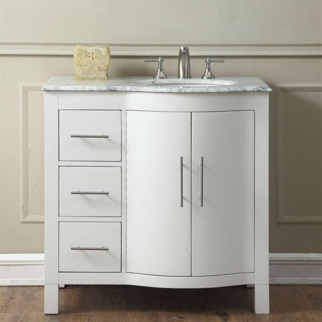 36 0290wr Modern Bathroom Vanity Carrara White Marble Top Single Sink Cabinet