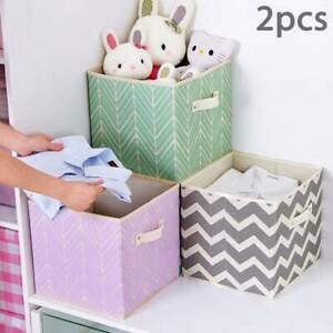 2X-Foldable-Canvas-Storage-Collapsible-Folding-Box-Fabric-Cube-Cloth-Basket-Bag