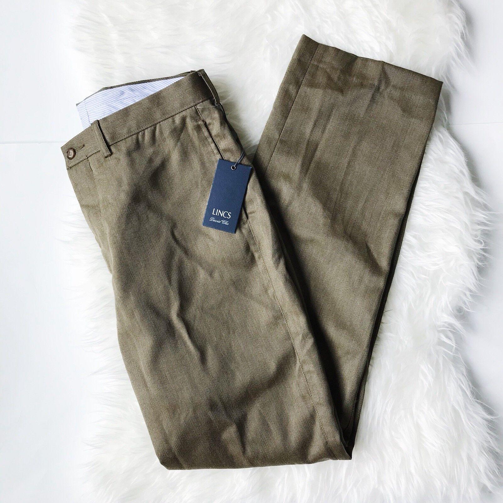 NWT  Lincs David Chu Wool Pants Size 34 in Fall Olive Style PF84121