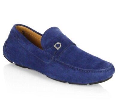 b8de1ba0f2ca0 Details about New Salvatore Ferragamo 'Clip' Blue Suede Loafers Size 10 D