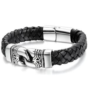 Image Is Loading 12mm Men 039 S Braided Leather Bracelet Vintage