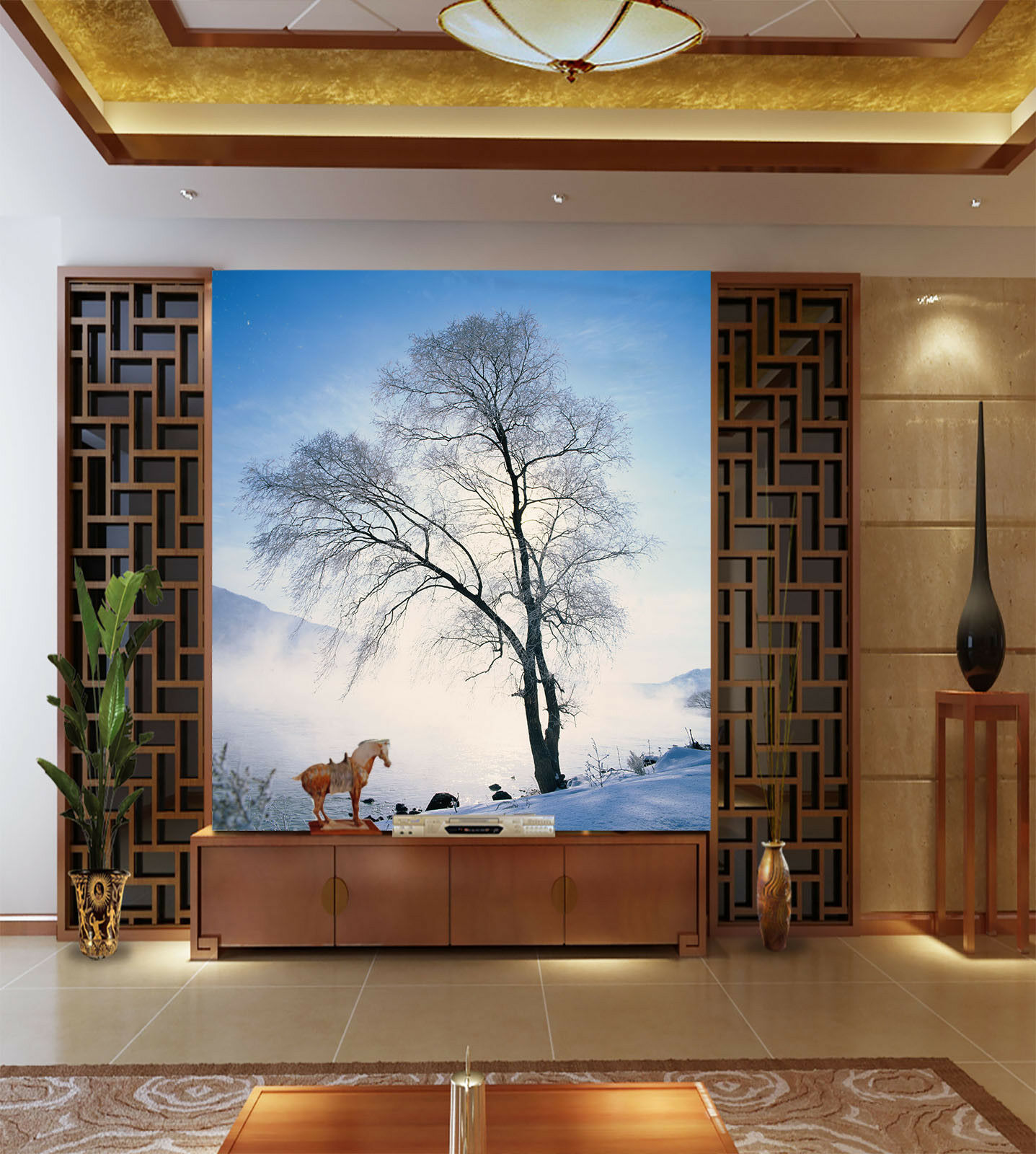 3D Fallen Schnee Bäume 74 Tapete Wandgemälde Tapete Tapeten Bild Familie DE