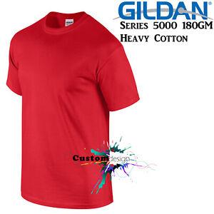 Gildan-T-SHIRT-Red-Basic-tee-S-M-L-XL-2XL-XXL-Men-039-s-Heavy-Cotton-Premium