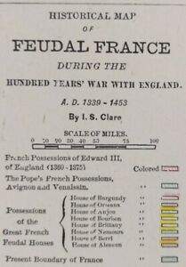 Vintage-1900-FEUDAL-FRANCE-Map-11-034-x14-034-Old-Antique-Original-HUNDRED-YEARS-WAR