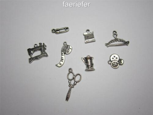 8 Tibetan silver sewing seamstress mix theme charms craft jewellery making cards