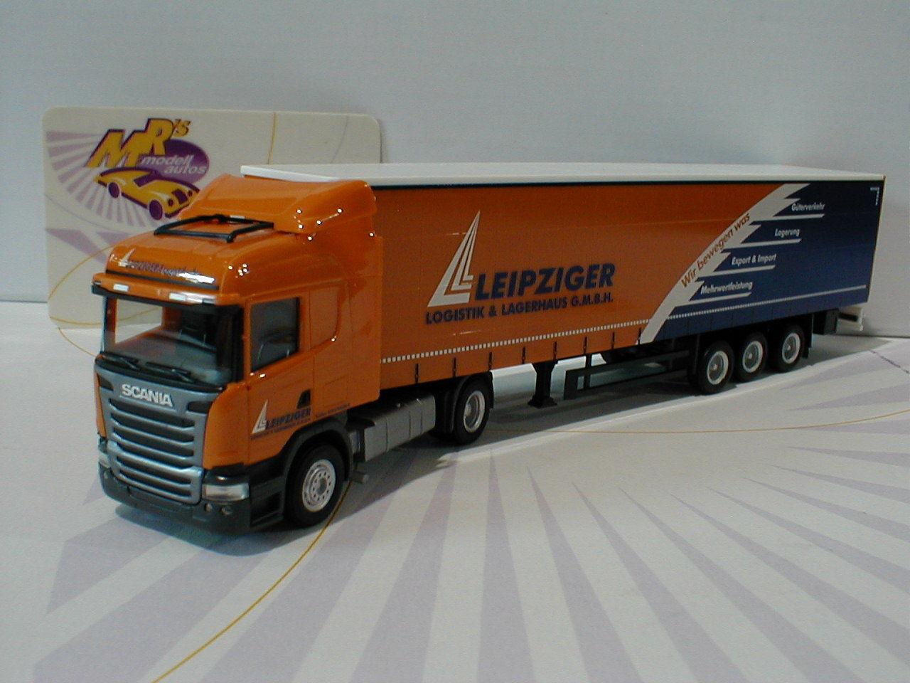 Herpa 307444 - Scania R Highline Gardinenplanen-SZ   Leipziger Logistik   1 87  |  Neuer Markt