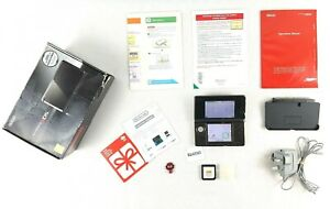 Nintendo-3DS-Console-Black-Genuine-UK-Charger-Box-Manuals-Charging-Base
