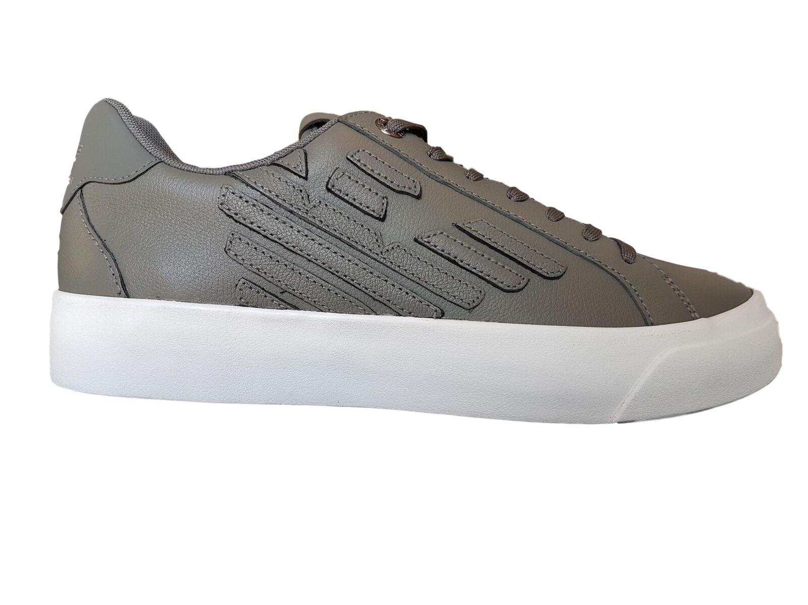 Schuhe EA7 Emporio Armani 7 EA Herren X8X004 Niedrige Turnschuhe Graues Leder Sp