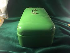 Green Enamelware Hinged Covered Bread Box Bin with Handle ~ Vintage