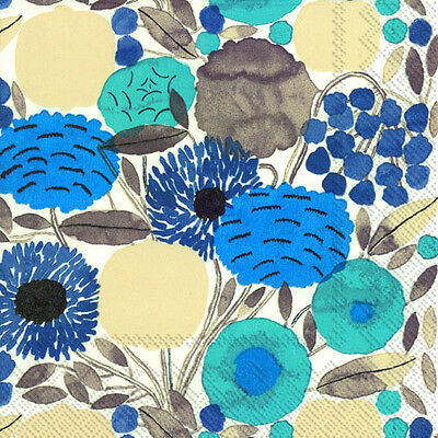 Marimekko SITRUUNAPUU blue floral luxury napkins paper napkins new 20 pack