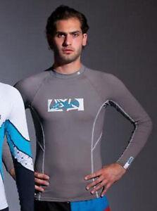 Lycra Rash Guard Long Sleeve Grey T-shirt Hemd Schwimm Kite Surf Wakeboard Shirt