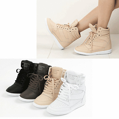 Epicsnob Womens Shoes Korea High Top Wedges Heel Lace Up Fashion Sneakers