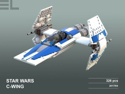 Lego Custom  Star Wars C-Wing INSTRUCTIONS AND PRINTABLE DECALS ONLY!