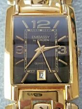 Embassy by Gruen Polished Gold Tone Rectangle Analog Date Quartz Men's Watch