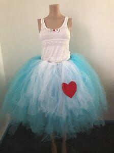 48d29fab2 Image is loading Alice-In-Wonderland-Tulle-Skirt-Costume-Handmade-Adult-