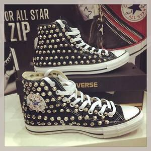 all star converse nere con borchie