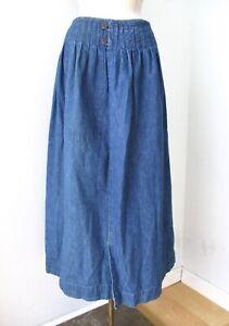 Vtg Ralph Lauren dark blue denim cottage core midi wrap skirt pleats pockets 8
