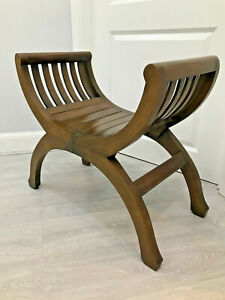 Antique X Frame Teak Stool Seat Chair Arts Crafts Style Vintage Interior Design