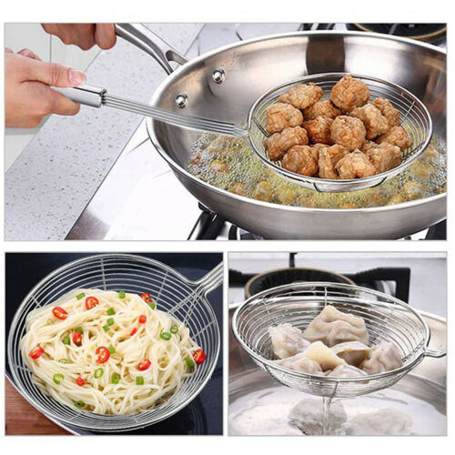 Stainless Steel Mesh Strainer Ladle Wire Skimmer Spoon W// Handle Kitchen Tools