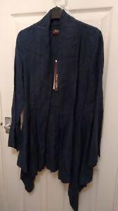 Elegant Phase Eight Waterfall Linen Cardigan Navy Blue Bnwt Lagenlook Sz 8 £65 Rich In Poetic And Pictorial Splendor