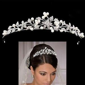 Princess-Wedding-Bridal-Pearl-Rhinestone-Crystal-Crown-Hair-Headband-Tiara-O7Q6