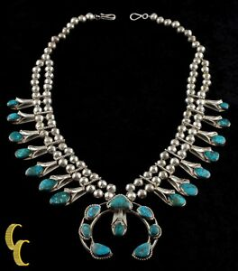 Navajo-Turquoise-amp-Sterling-Silver-Squash-Blossom-Necklace