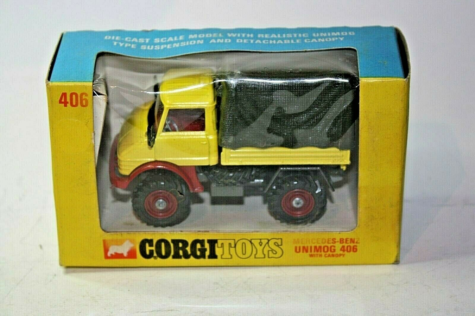 CORGI 406 MERCEDES UNIMOG, ottime condizioni nella scatola originale buona