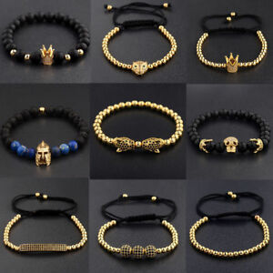 Men-Cubic-Zirconia-Luxurious-Leopard-Crown-Skull-Head-Gold-Plated-Bracelets-Gift