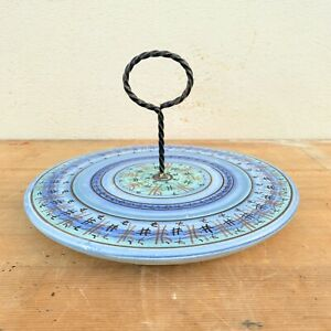 Vintage-French-Vallauris-Ceramic-Cheese-Plate-Hand-Painted