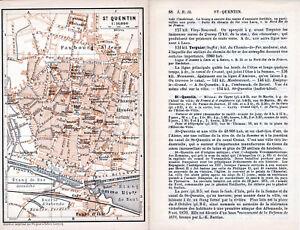 02 Saint Quentin 1898 plan ville + guide (3 p) hôtels Champs-Elysées Bains-Somme mEB8Qczy-08044404-478966284