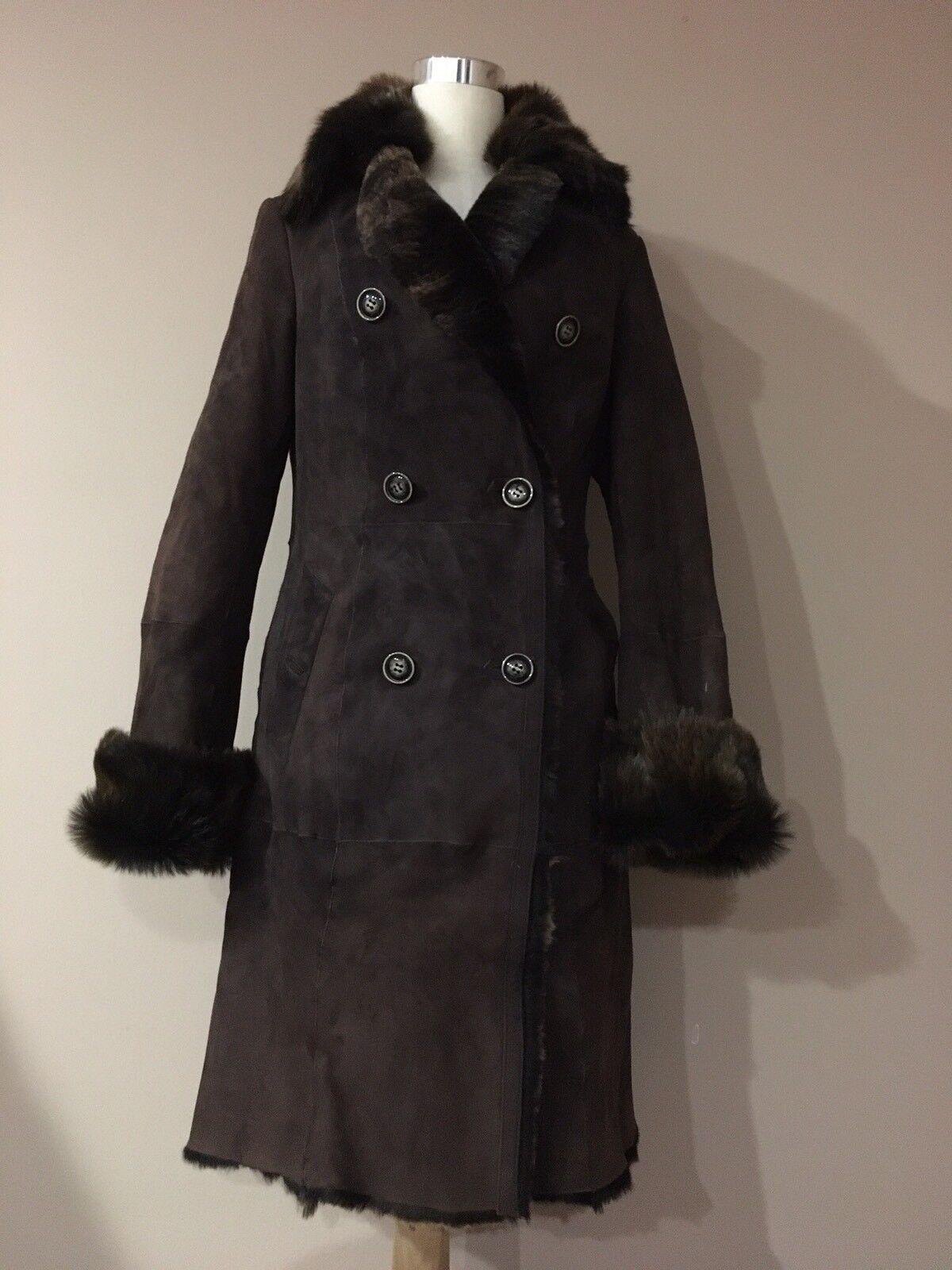 Via veneto Brown Genuine Sherling Lambskin Coat Winter Fur  Sz.s- Usa, M- Eur