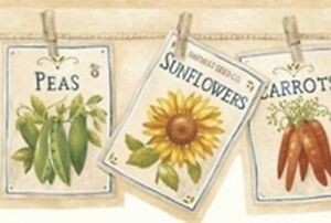 Wallpaper-Border-Country-Flower-amp-Vegetable-Seed-Packets-Pinned-on-Clothesline