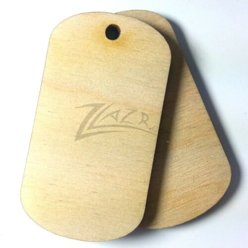 10 Wooden Dog Tags 1-Hole BLANKS Pendant Jewelry Dogtags Natural Birch Military