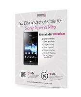 3x Displayschutzfolie Für Sony Xperia Miro St23a St23i Displayfolie Schutzfolie