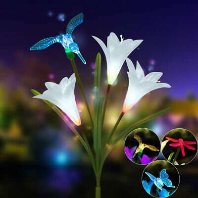 Solar Powered Lily Flower Garden Stakes 2 Pack Color Change Led