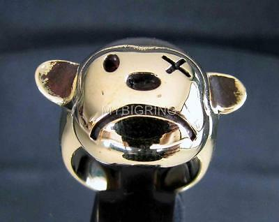 ARTWORK BRONZE BIKER RING FRUSTRATED SAD TEDDY BEAR X-EYE ANTIQUED ANY SIZE