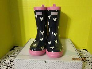 Hatley Girls Classic Kids Rain Boots Rubber Pull On Blue