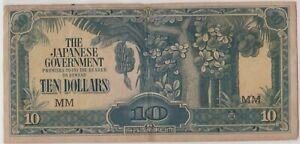 Mazuma *M1278 Malaya Japanese WWII JIM 1942 $10 MM VF