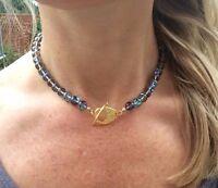 Designer Moonstone Glass Necklace Blue Quartz Handmade Beaded Gemstone Jewelry